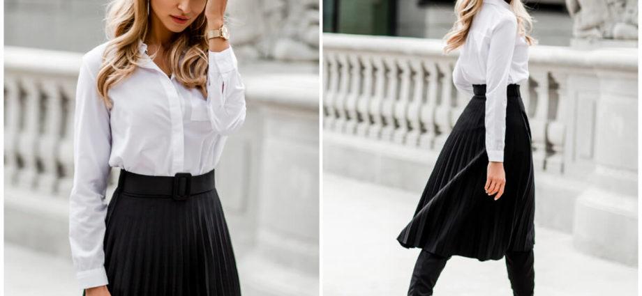 Najlepsze stylizacje na koniec roku szkolnego - biała koszula i rozkloszowana spódnica midi