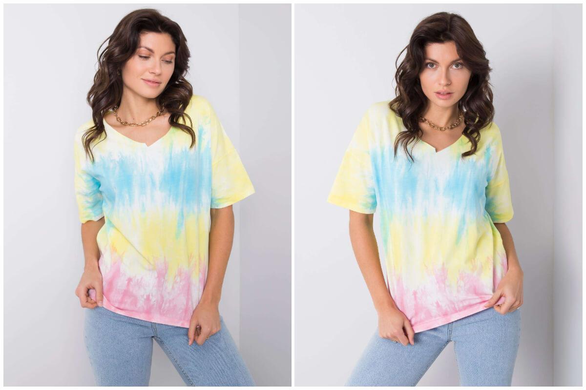 Ubrania tie-dye - wielobarwna koszulka z krótkim rękawem