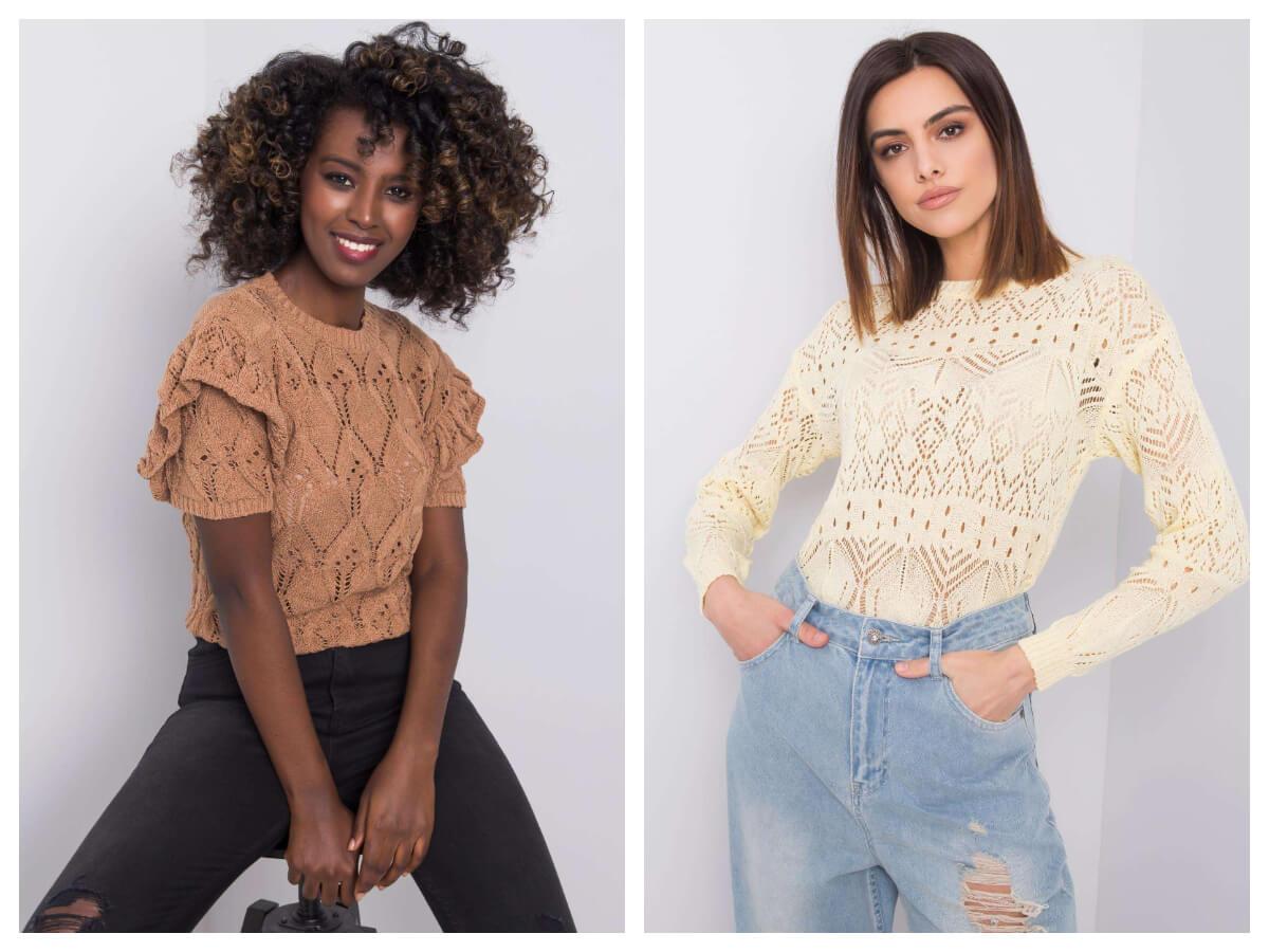 Ażurowe swetry w jasnych kolorach