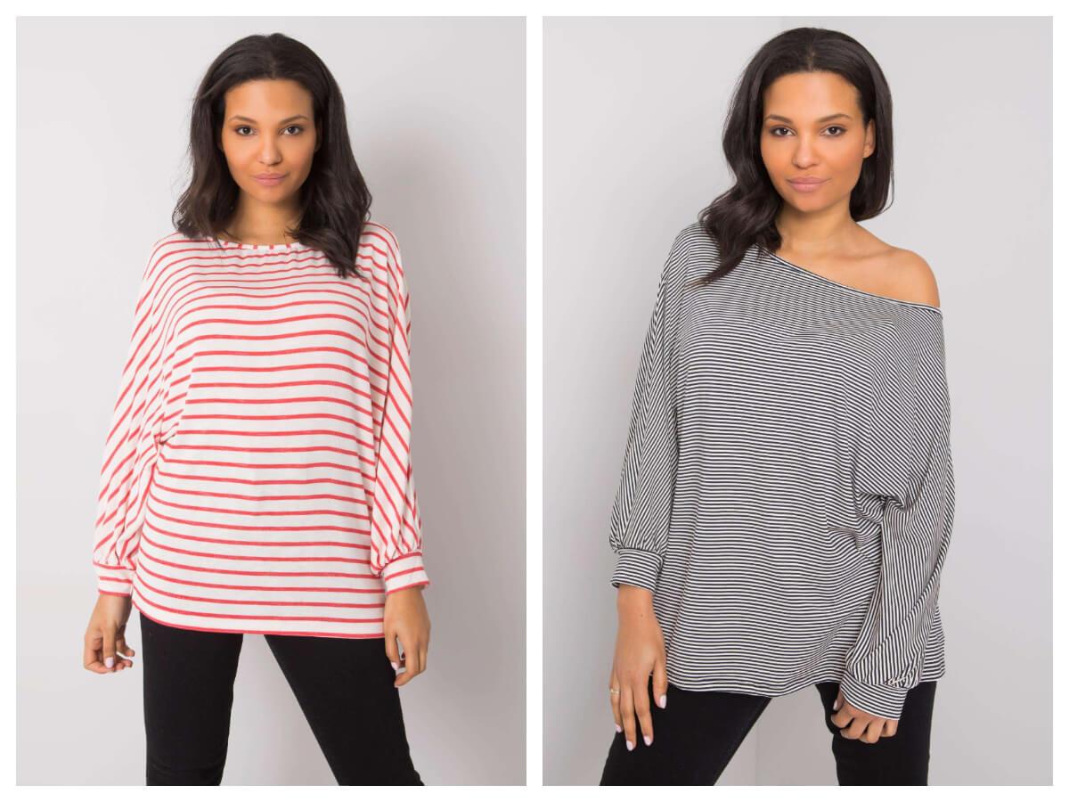 Oversizowe bluzki plus size w paski