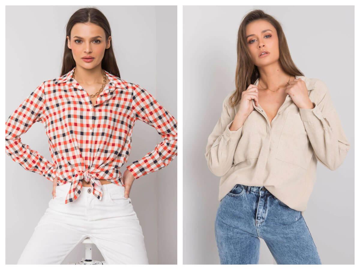Modna koszula w kratę i koszula damska w kolorze bezowym