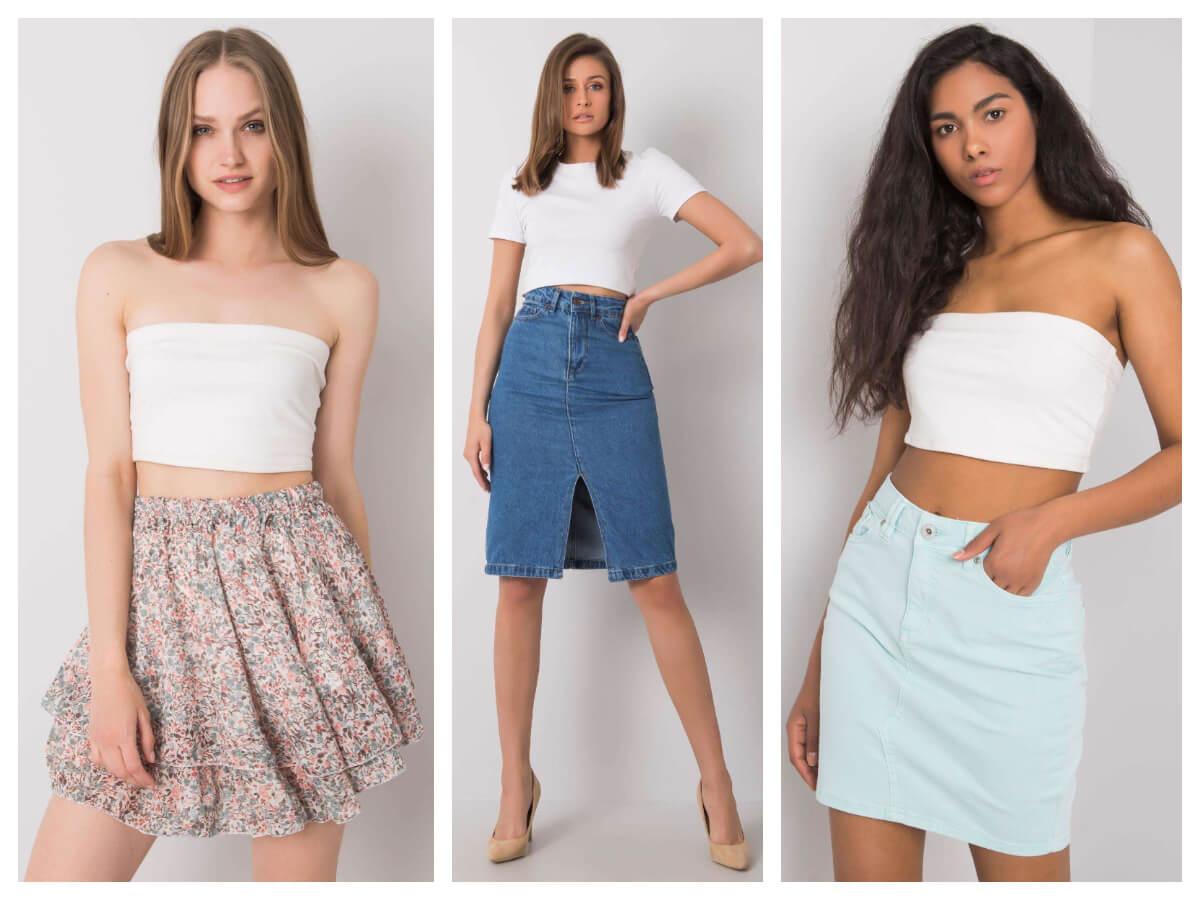 Letnie spódnice damskie jeans oraz modna spódnica mini w kwiaty