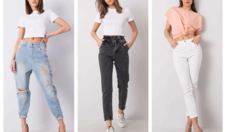 Jeansowe spodnie damskie typu mom fit