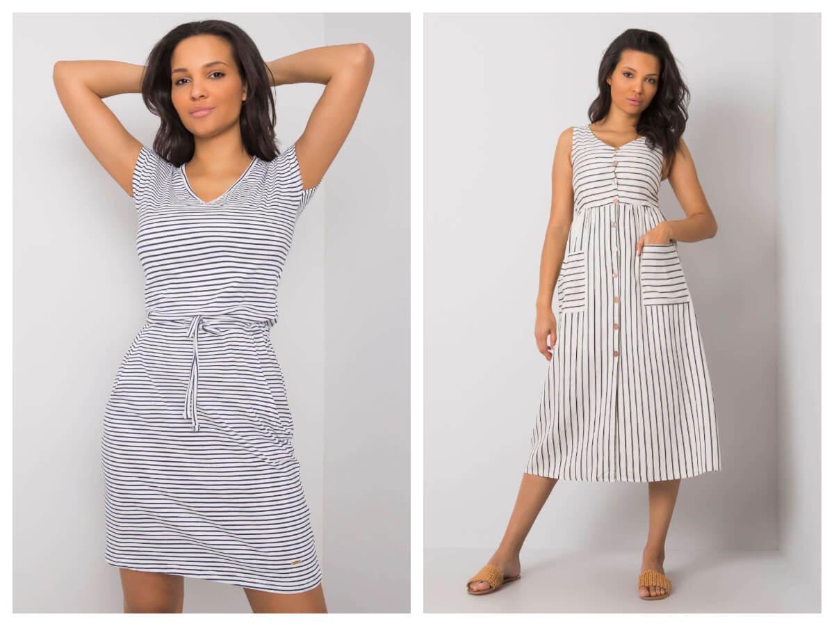 sukienki w paski w stylu marynarskim