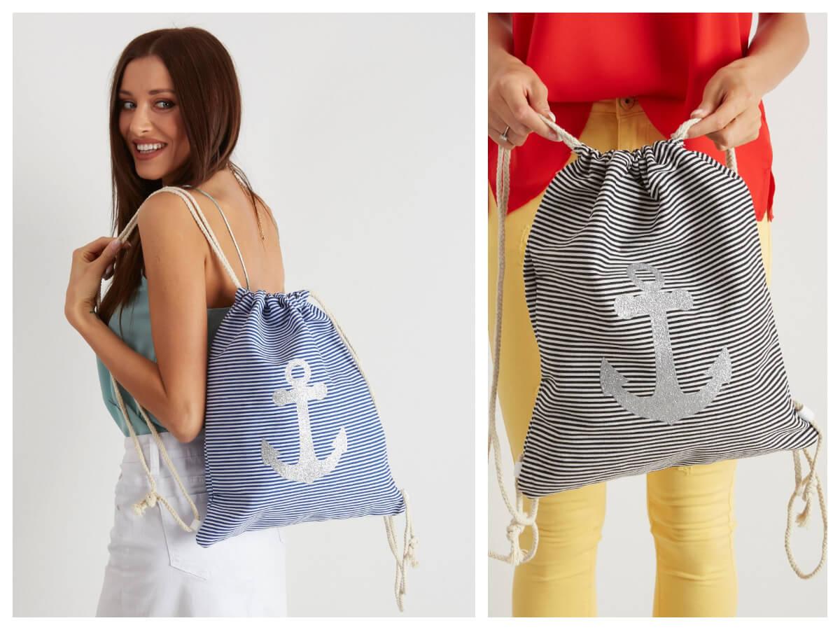 Damskie plecaki worki w marynarskim stylu