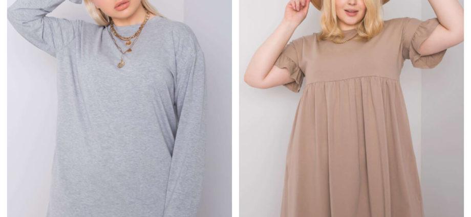 Mini sukienka plus size w beżowym kolorze