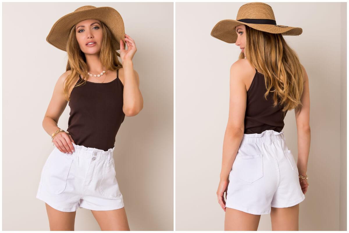 Białe szorty jeansowe damskie z wysokim stanem
