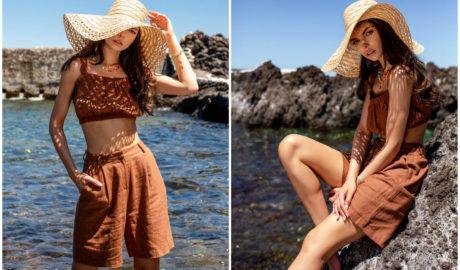 Brązowy krótki komplet na lato w stylizacji z kapeluszem z rafii