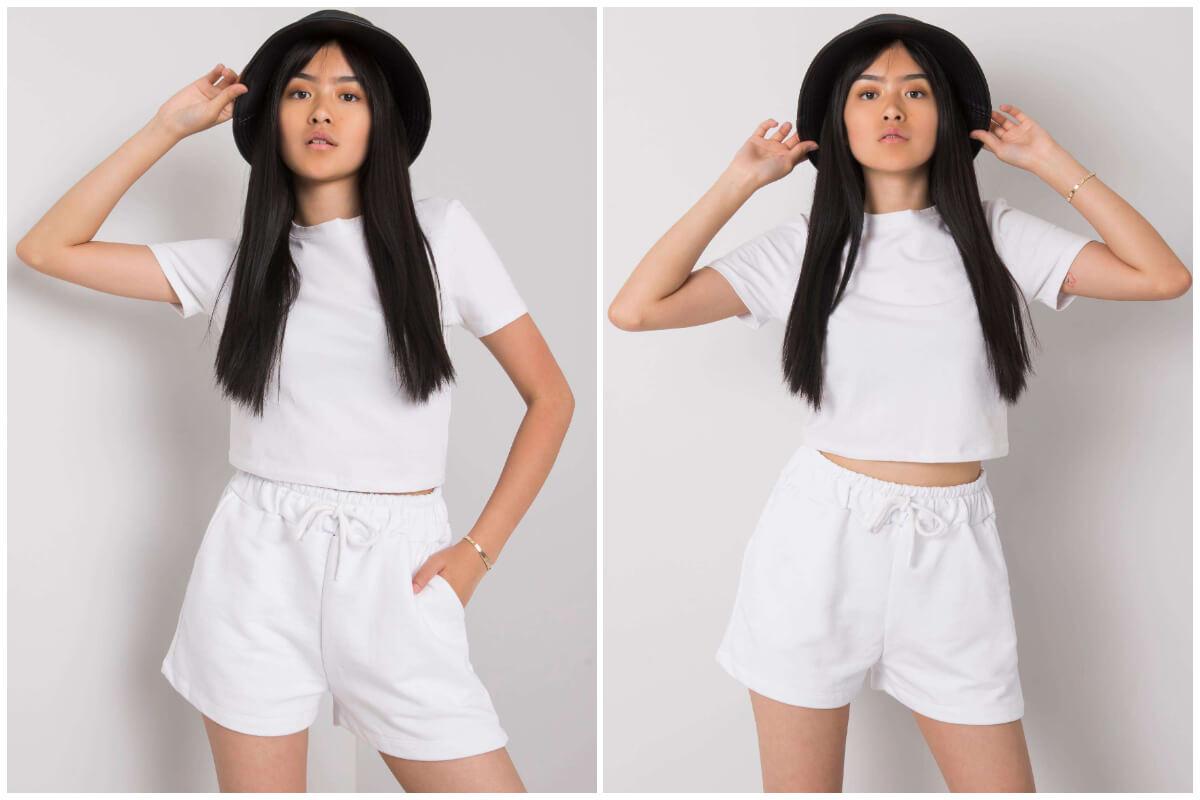 Stylizacje basic na lato - biały komplet sportowy z topem i szortami
