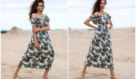 Sukienka na lato - maxi hiszpanka z kwiatowymi printami