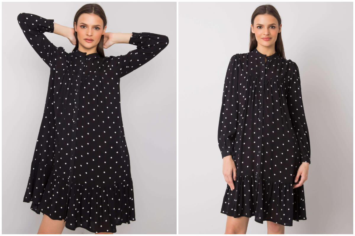 Czarna sukienka w groszki z długim rękawem i półgolfem