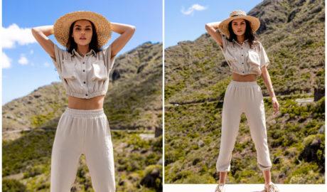 Kremowe szerokie spodnie dresowe w letniej stylizacji