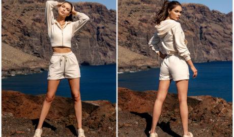 Białe szorty damskie na lato dresowe