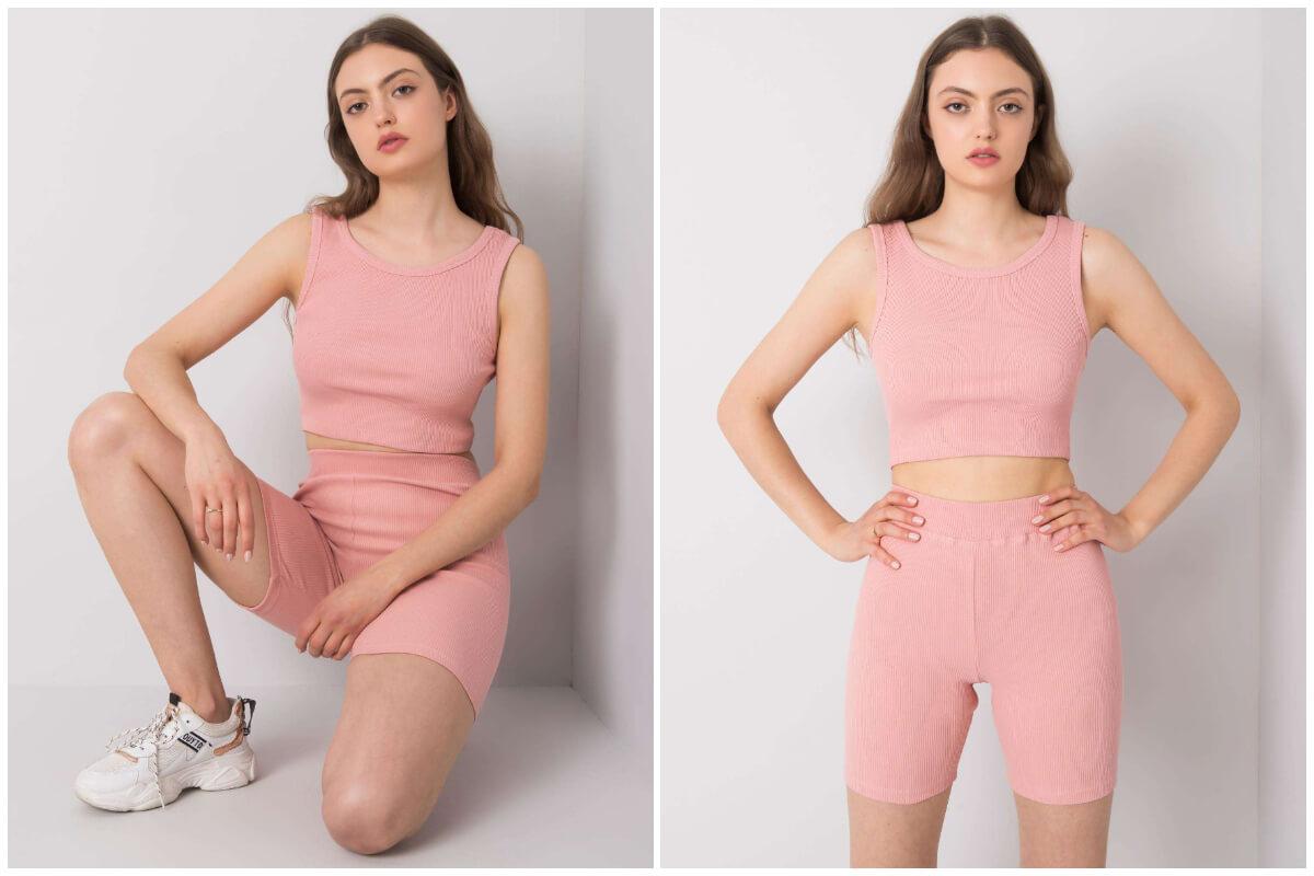 Różowe szorty kolarki w komplecie z topem na grubych ramiączkach