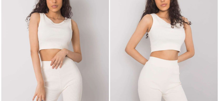 Białe szorty kolarki w komplecie z topem na grubych ramiączkach