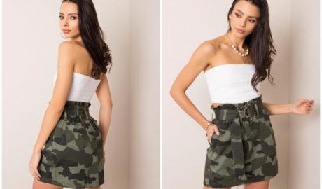 Ubrania moro - mini spódnica w motyw moro w stylizacji na lato z krótkim topem
