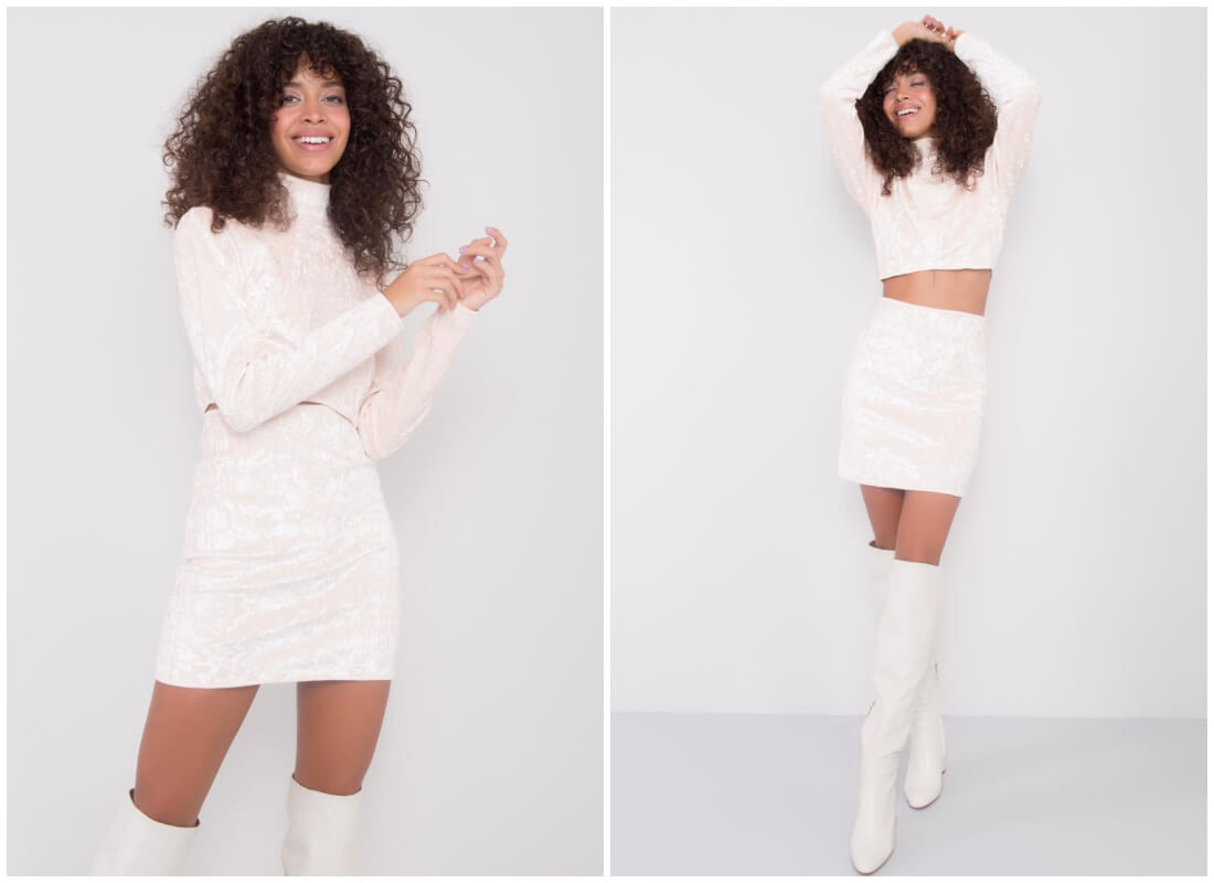 Welurowe ubrania damskie - biały komplet z crop topem i spódnicą z wysokim stanem