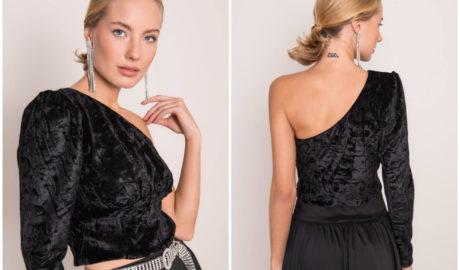 Welurowe ubrania damskie - czarny asymetryczny top na jedno ramię