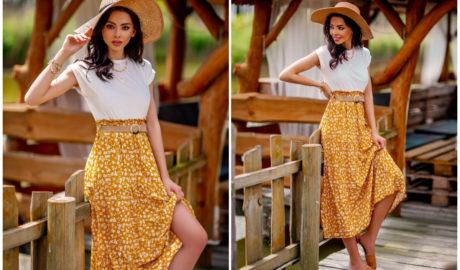 Musztardowa zwiewna spódnica na lato w kwiecisty print