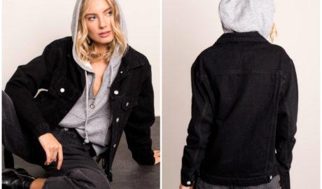 Czarna kurtka jeansowa w stylizacji z bluzą z kapturem