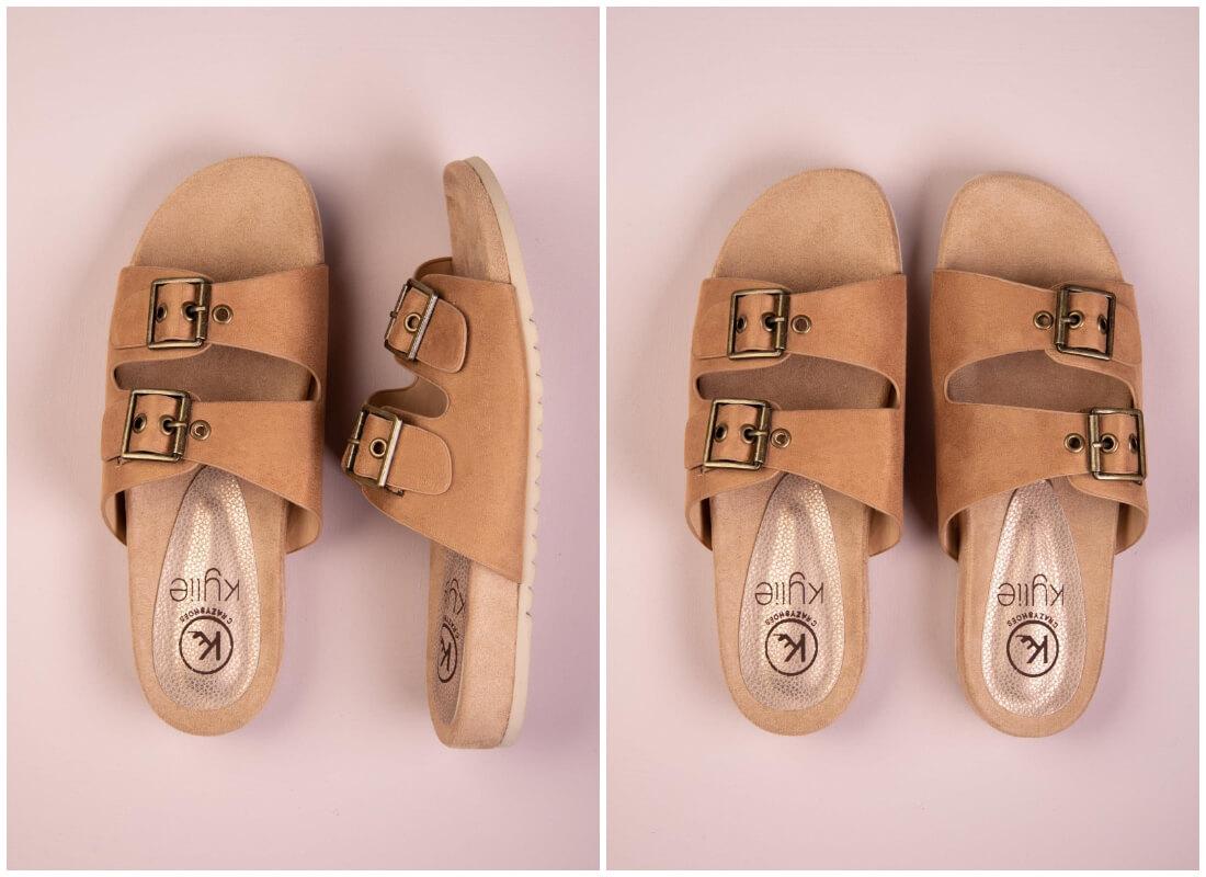 Buty damskie na lato - brązowe klapki z zamszu z metalowymi zapięciami