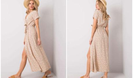 Styl cottagecore - beżowa maxi sukienka z wycięciem i wiązaniem w pasie