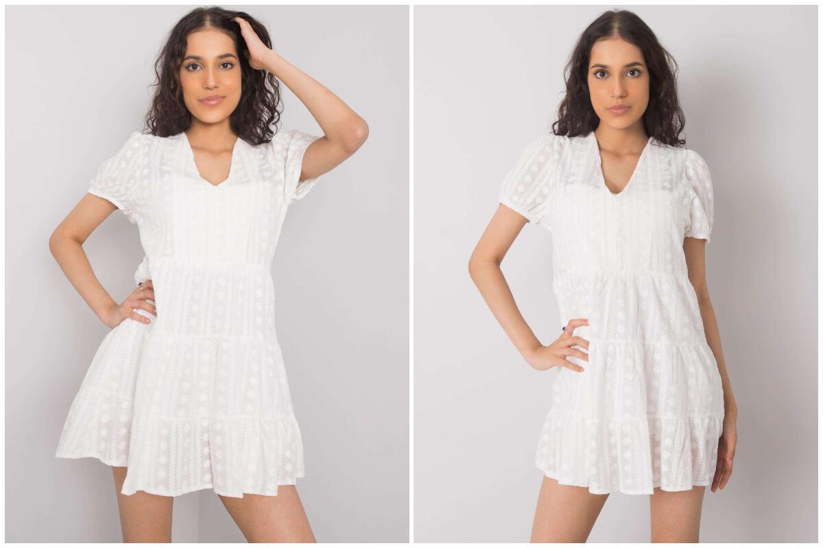 Styl cottagecore - biała mini sukienka z koronki i falbankami