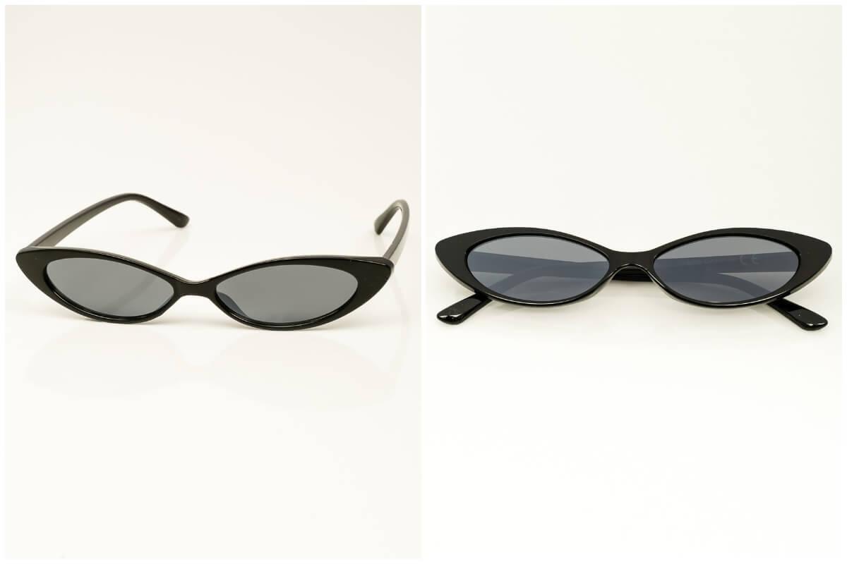 Okulary przeciwsłoneczne damskie typu kocie oczy w czarnych oprawkach