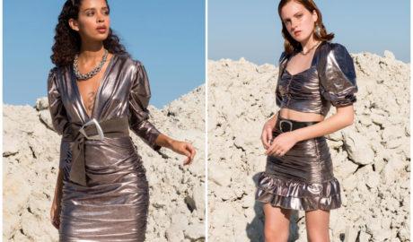 Moda na lata 2000 - metaliczna sukienka i komplet ze spódnicą