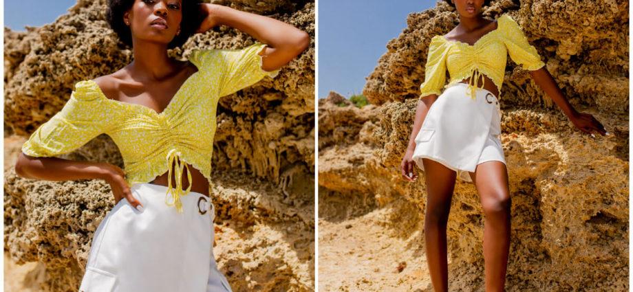 Żółte letnie bluzki z bufkami i ściągaczem