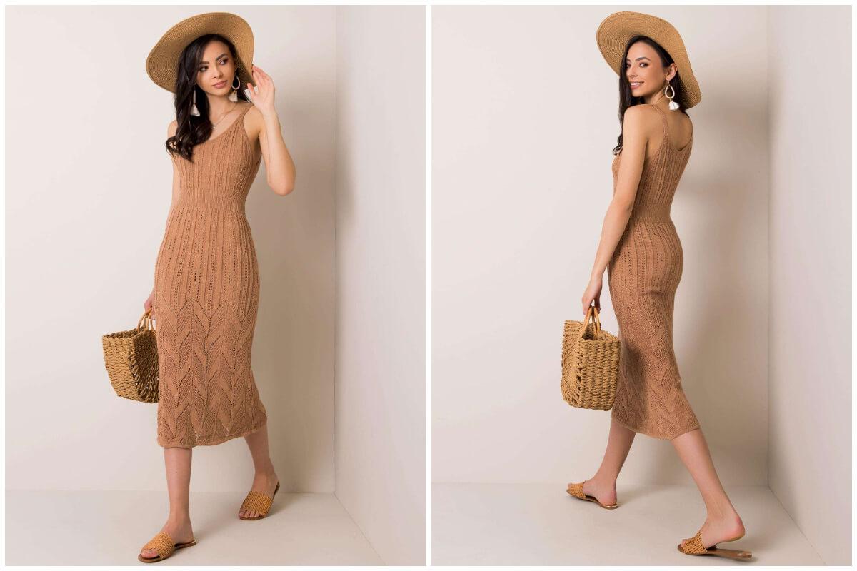 Dziergane sukienki na lato w beżowym wydaniu