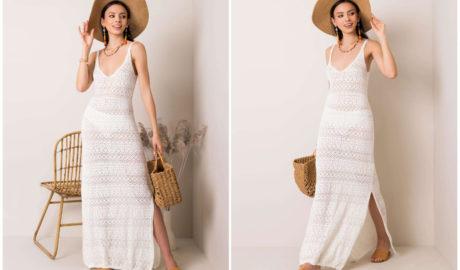 Białe dziergane sukienki maxi na cienkich ramiączkach