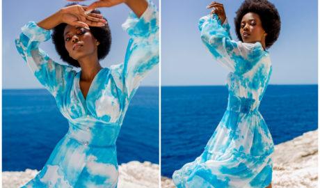 Stylizacje damskie na lato - błękitna zwiewna sukienka