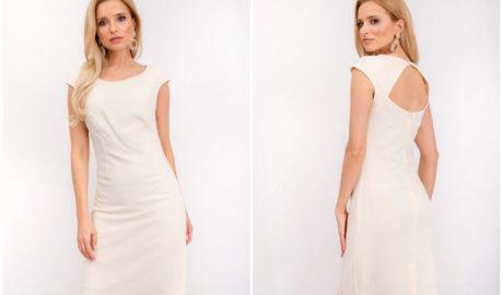 Letnia sukienka na wesele kremowa z wycięciem na plecach