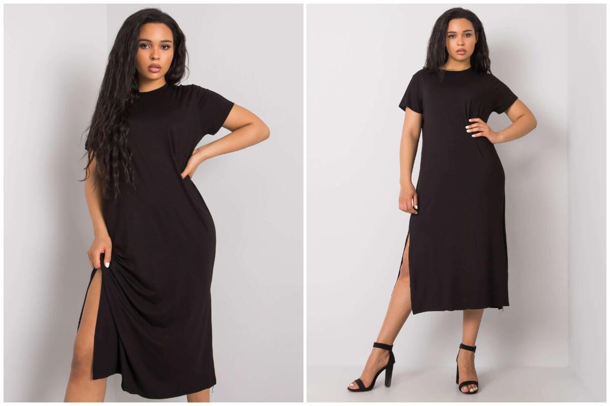 Ubrania plus size - prosta czarna sukienka midi z krótkim rękawem i rozcięciem na nodze