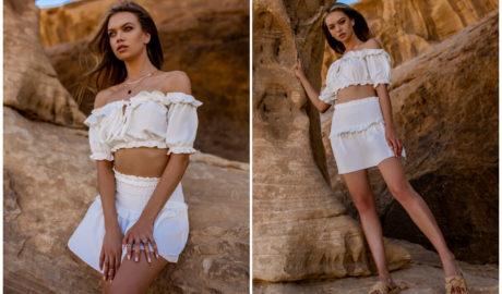 Zwiewne bluzki hiszpanki białe z dekoltem obszytym falbaną