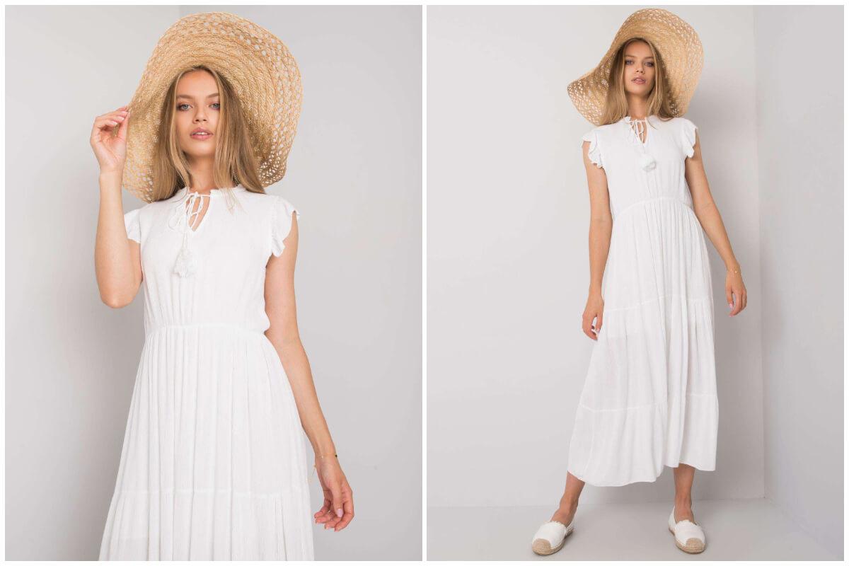 Sukienki z falbanami - biała maxi na plażę