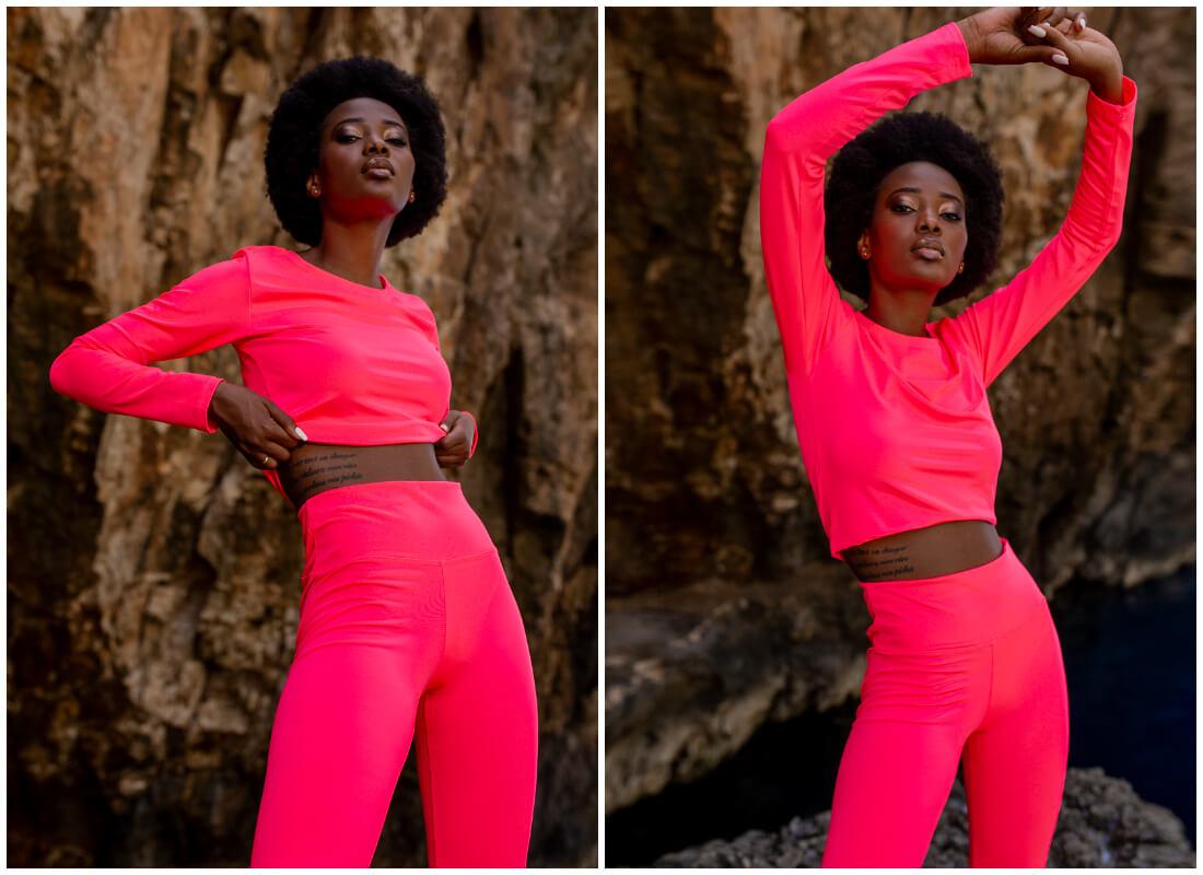 Neonowe ubrania - różowy sportowy komplet