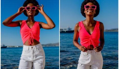Neonowe ubrania na lato - różowy top fluo