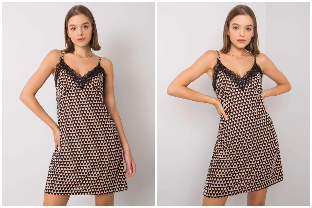 Sukienki na ramiączkach spaghetti - wzorzysta bieliźniana mini