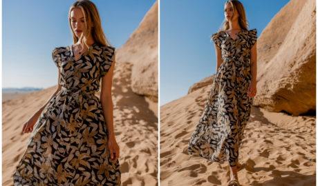 Sukienki maxi w kwiaty - falbaniasta sukienka do ziemi