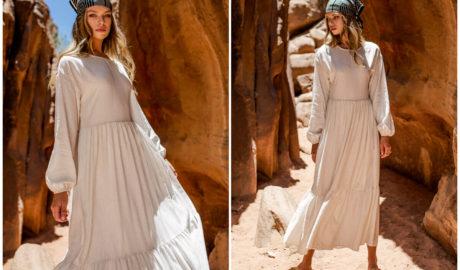 Styl boho w modzie - stylizacja z maxi sukienką z falbaną