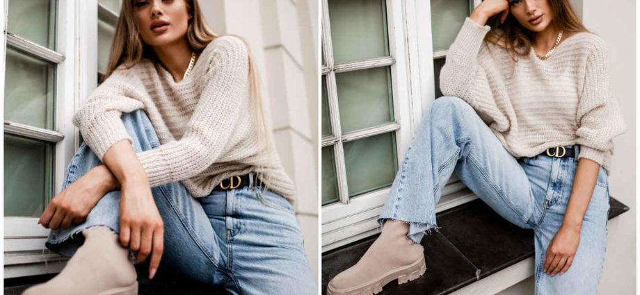 Buty na jesień - beżowe botki na traktorowej podeszwie