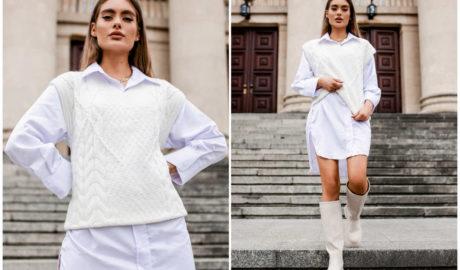 Kamizelki damskie na jesień - swetrowa kamizelka ecru
