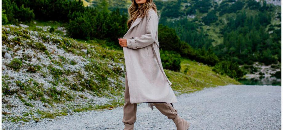 Płaszcze przejściowe damskie - długi szary płaszcz
