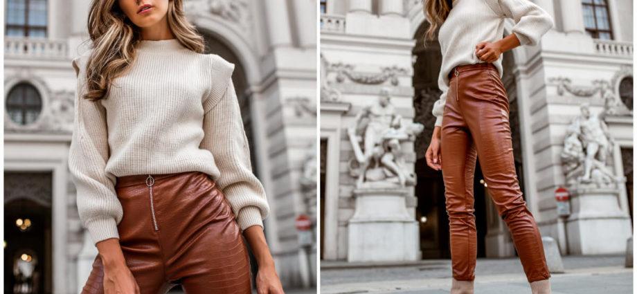 Skórzane spodnie rurki w odcieniu brązu