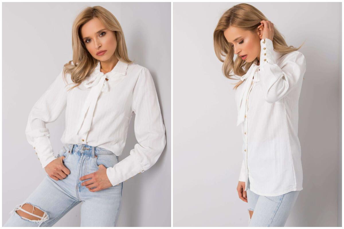 Stylizacje do pracy - biała koszula z kołnierzykiem i jeansy