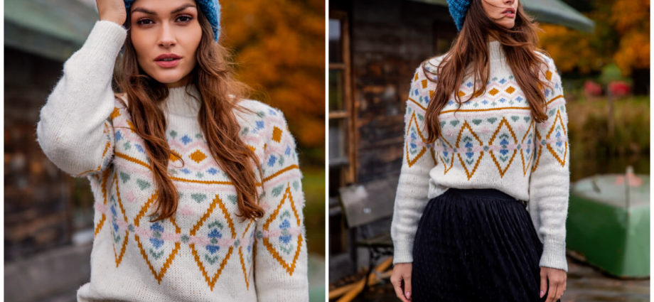 Damskie swetry - krótki golf we wzorki