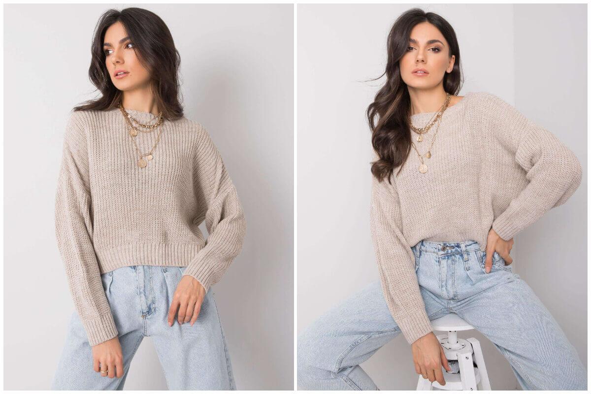Damskie swetry - krótki szary sweter nietoperz