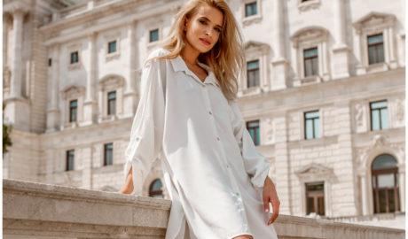 Ubrania oversize - biała koszulowa sukienka